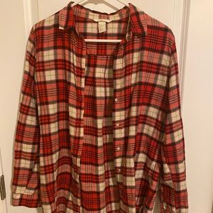 h&m red plaid button up top